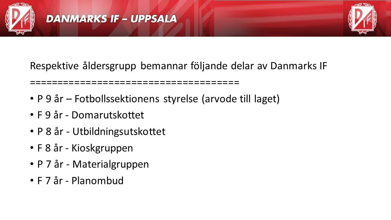 Agenda Respektive åldersgrupp bemannar följande delar av Danmarks IF ===================================== P 9 år – Fotbollssektionens styrelse (arvod