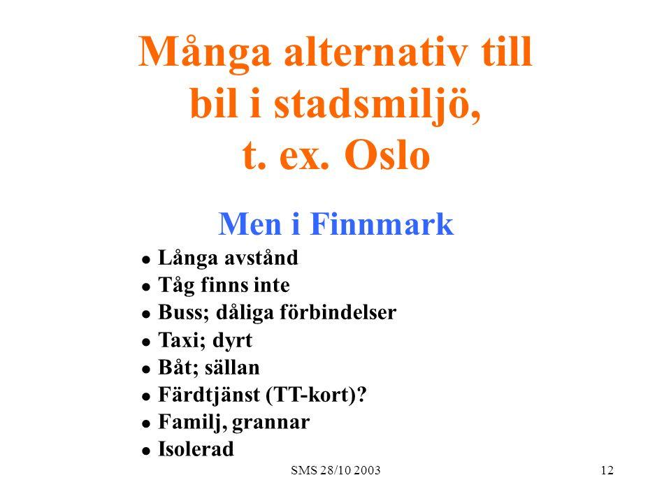 SMS 28/10 200312 Många alternativ till bil i stadsmiljö, t. ex. Oslo Men i Finnmark  Långa avstånd  Tåg finns inte  Buss; dåliga förbindelser 