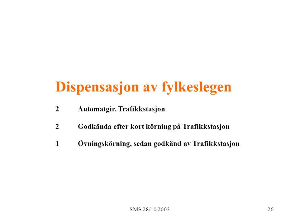 SMS 28/10 200326 Dispensasjon av fylkeslegen 2 Automatgir. Trafikkstasjon 2 Godkända efter kort körning på Trafikkstasjon 1 Övningskörning, sedan godk