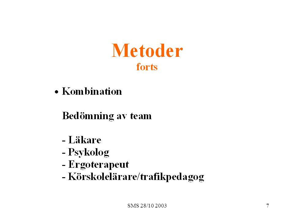 SMS 28/10 200318 Material, forts (n= 44 män och 10 kvinnor) o o
