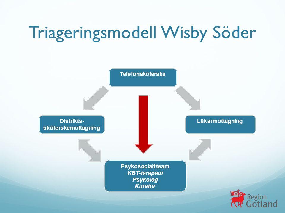 Triageringsmodell Wisby Söder Telefonsköterska Distrikts- sköterskemottagning Läkarmottagning Psykosocialt team KBT-terapeut Psykolog Kurator