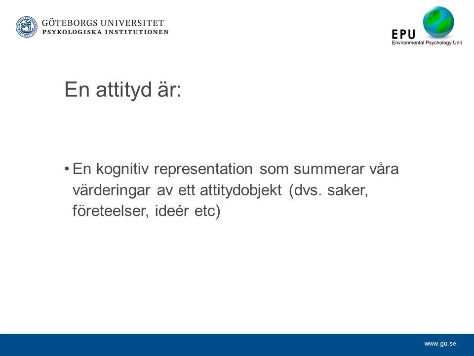 www.gu.se En attityd är: En kognitiv representation som summerar våra värderingar av ett attitydobjekt (dvs.