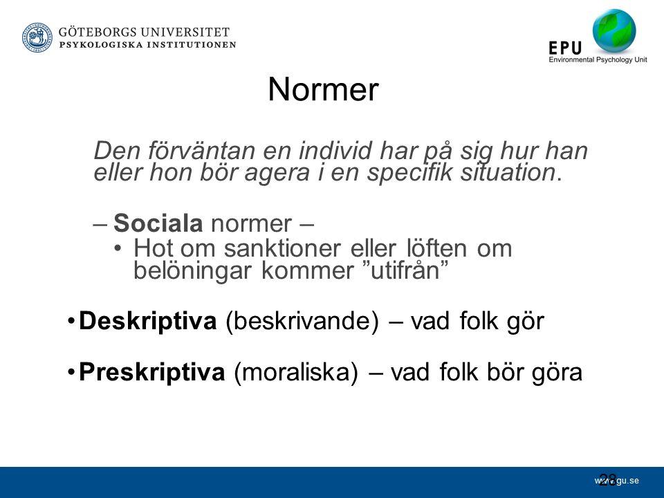 www.gu.se Normer Den förväntan en individ har på sig hur han eller hon bör agera i en specifik situation.