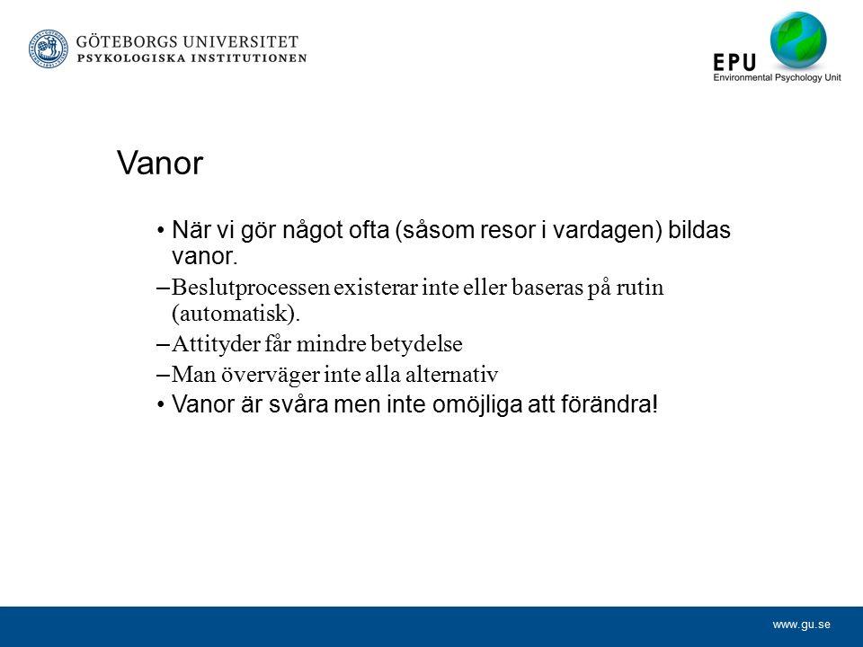 www.gu.se Vanor När vi gör något ofta (såsom resor i vardagen) bildas vanor.