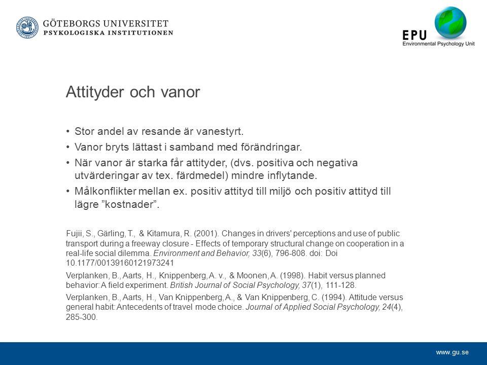 www.gu.se Attityder och vanor Stor andel av resande är vanestyrt.