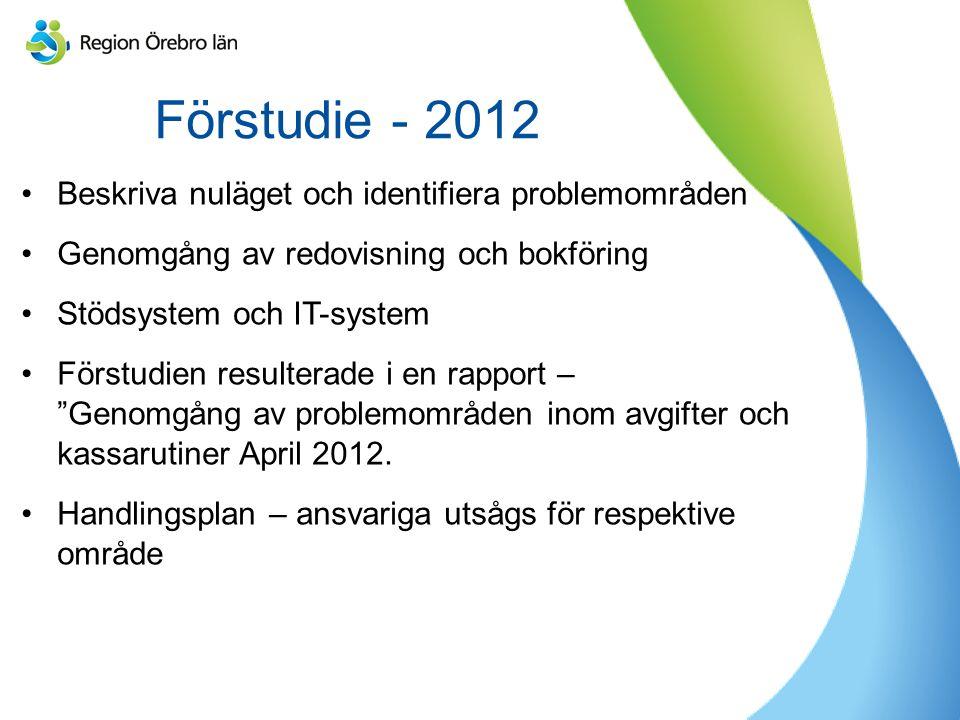 Förstudie - 2012 Beskriva nuläget och identifiera problemområden Genomgång av redovisning och bokföring Stödsystem och IT-system Förstudien resulterade i en rapport – Genomgång av problemområden inom avgifter och kassarutiner April 2012.