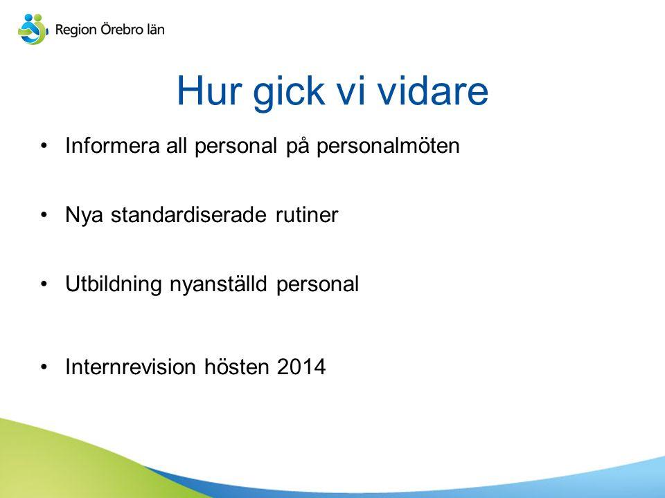 Hur gick vi vidare Informera all personal på personalmöten Nya standardiserade rutiner Utbildning nyanställd personal Internrevision hösten 2014