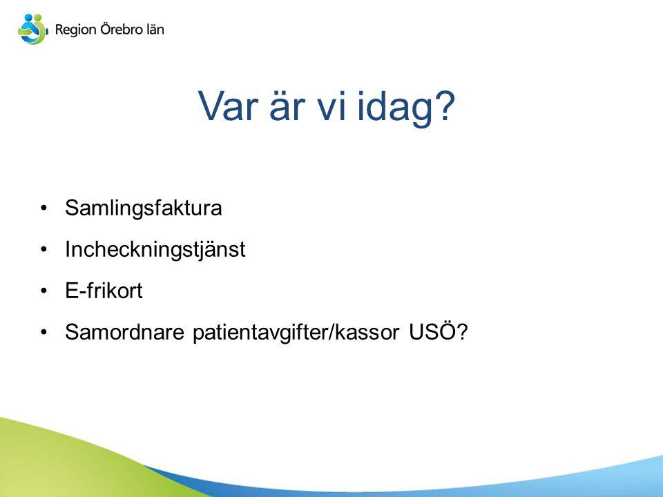 Var är vi idag? Samlingsfaktura Incheckningstjänst E-frikort Samordnare patientavgifter/kassor USÖ?
