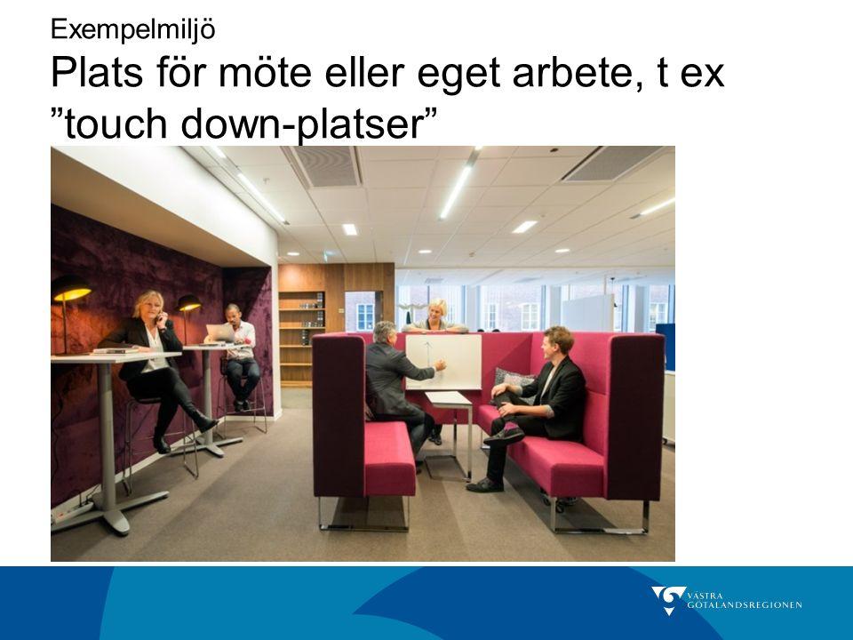 Exempelmiljö Plats för möte eller eget arbete, t ex touch down-platser