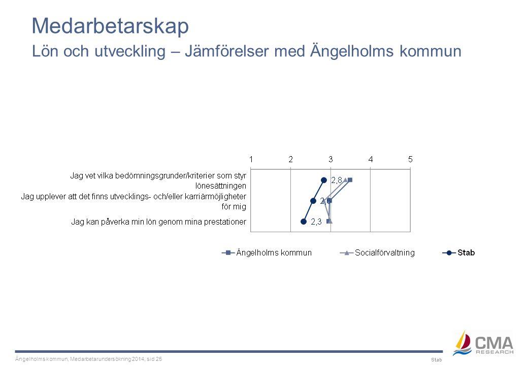 Ängelholms kommun, Medarbetarundersökning 2014, sid 25 Medarbetarskap Lön och utveckling – Jämförelser med Ängelholms kommun