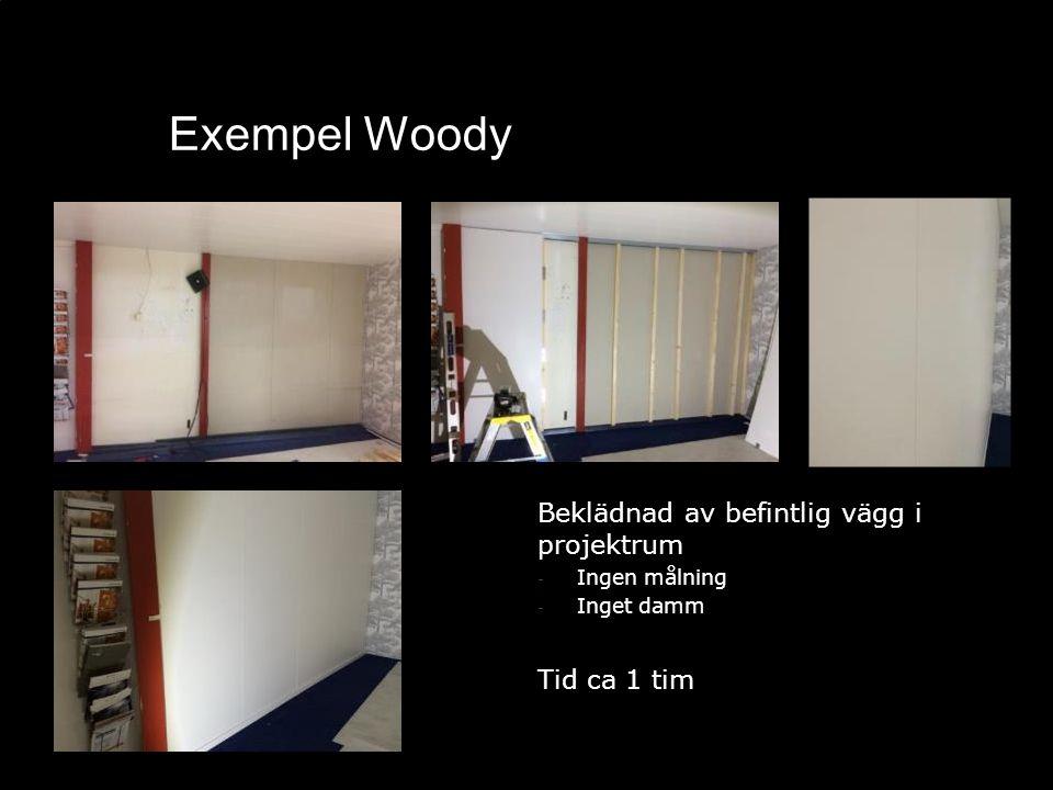 Exempel Woody Beklädnad av befintlig vägg i projektrum - Ingen målning - Inget damm Tid ca 1 tim