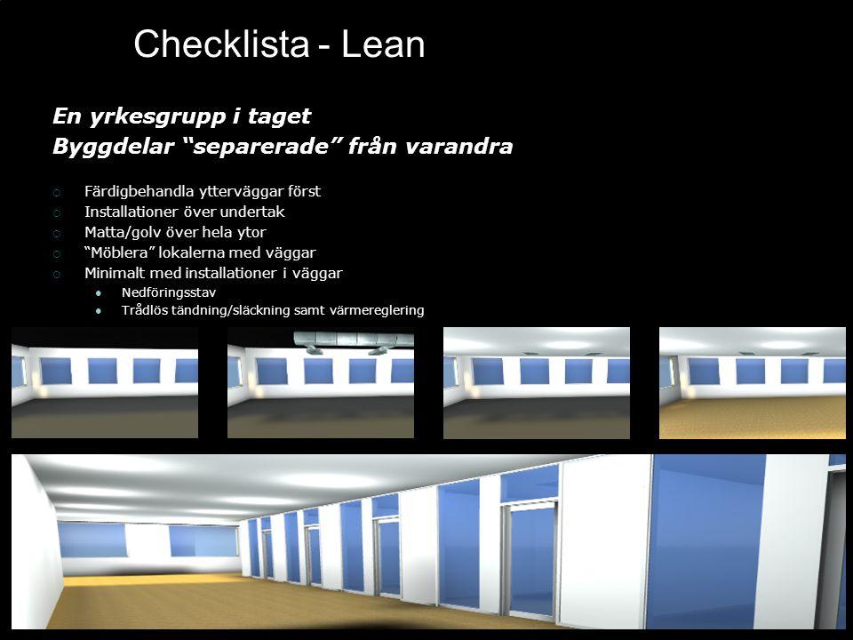"""Checklista - Lean En yrkesgrupp i taget Byggdelar """"separerade"""" från varandra  Färdigbehandla ytterväggar först  Installationer över undertak  Matta"""