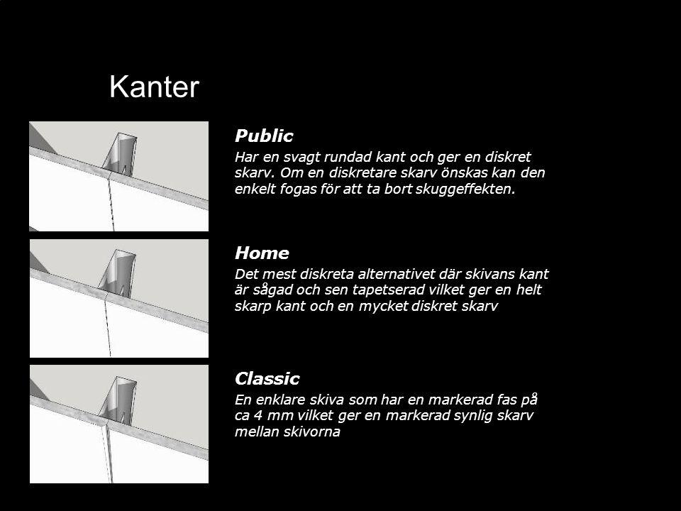 Kanter Public Har en svagt rundad kant och ger en diskret skarv. Om en diskretare skarv önskas kan den enkelt fogas för att ta bort skuggeffekten. Hom