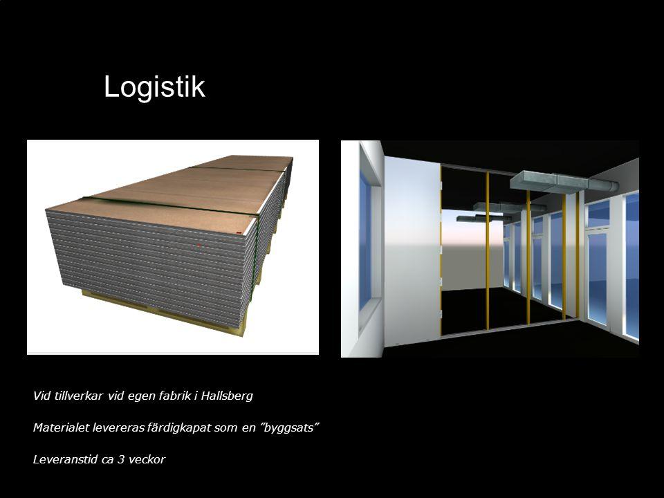 """Logistik Vid tillverkar vid egen fabrik i Hallsberg Materialet levereras färdigkapat som en """"byggsats"""" Leveranstid ca 3 veckor"""