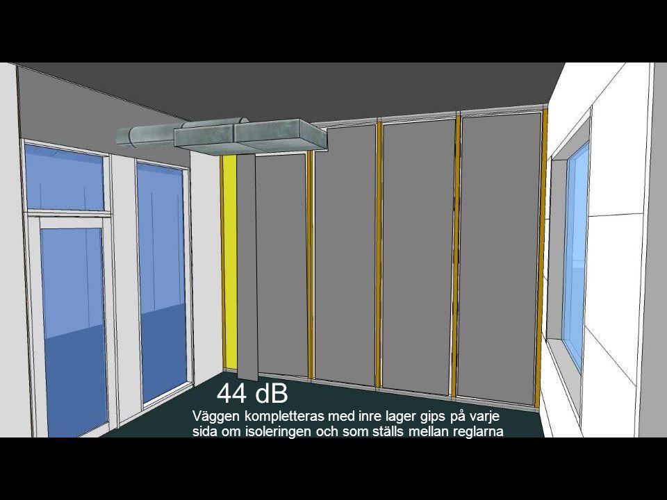 44 dB Väggen kompletteras med inre lager gips på varje sida om isoleringen och som ställs mellan reglarna