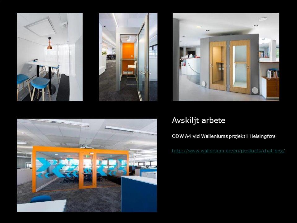 Avskiljt arbete ODW A4 vid Walleniums projekt i Helsingfors http://www.wallenium.ee/en/products/chat-box/