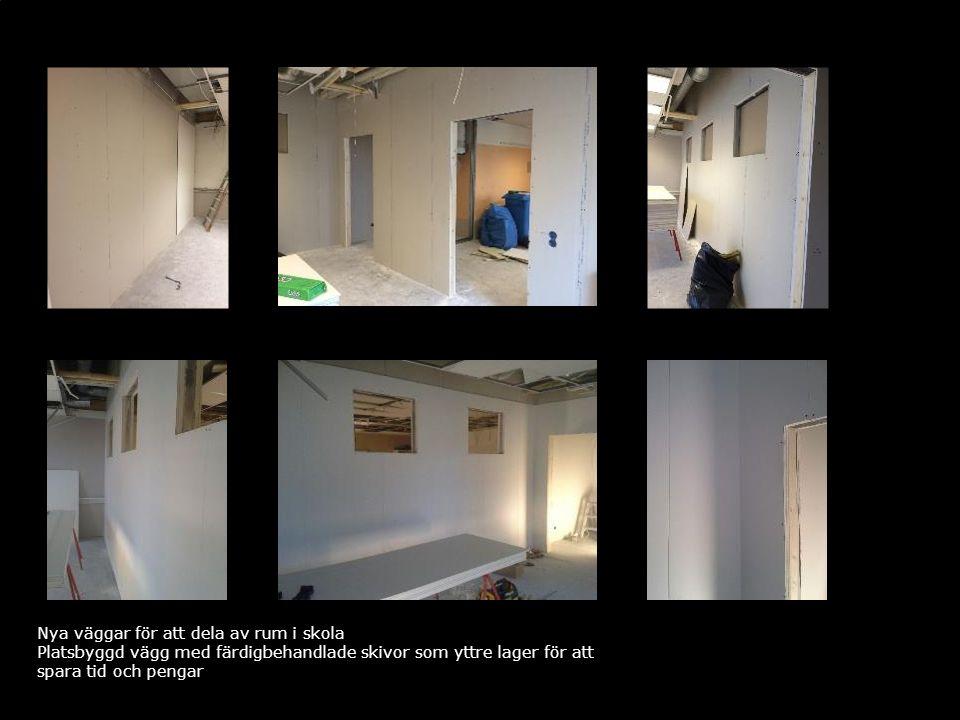 Nya väggar för att dela av rum i skola Platsbyggd vägg med färdigbehandlade skivor som yttre lager för att spara tid och pengar