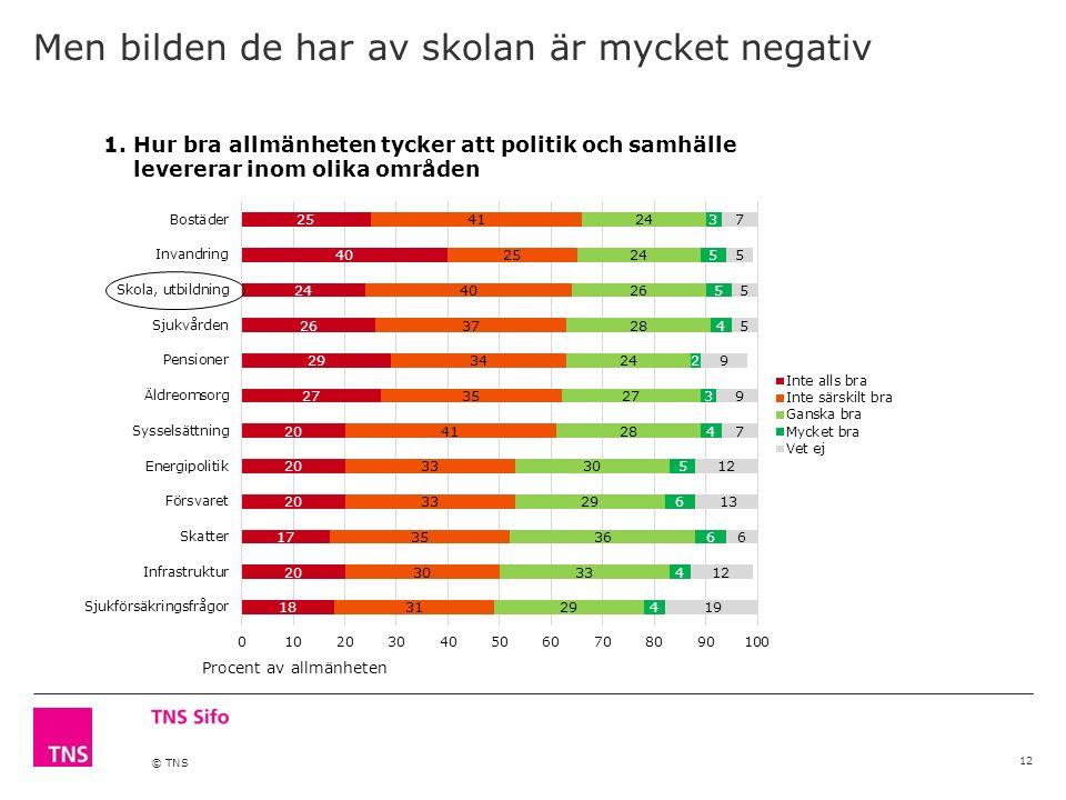 © TNS Men bilden de har av skolan är mycket negativ 12 Procent av allmänheten 1.Hur bra allmänheten tycker att politik och samhälle levererar inom olika områden