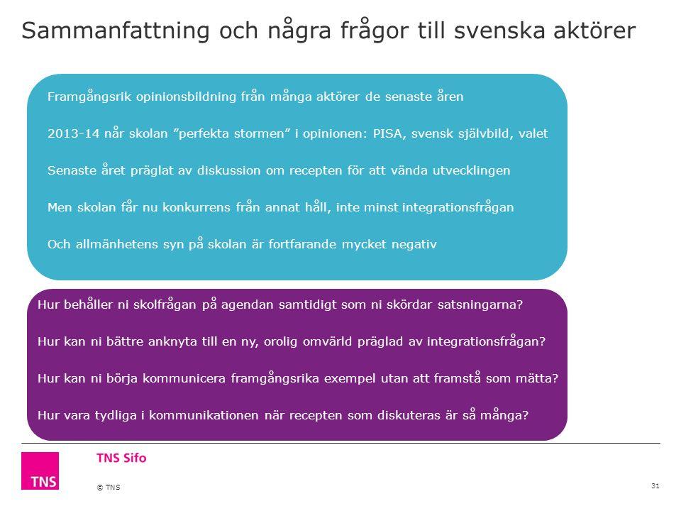 © TNS Framgångsrik opinionsbildning från många aktörer de senaste åren 2013-14 når skolan perfekta stormen i opinionen: PISA, svensk självbild, valet Senaste året präglat av diskussion om recepten för att vända utvecklingen Men skolan får nu konkurrens från annat håll, inte minst integrationsfrågan Och allmänhetens syn på skolan är fortfarande mycket negativ Sammanfattning och några frågor till svenska aktörer 31 Hur behåller ni skolfrågan på agendan samtidigt som ni skördar satsningarna.