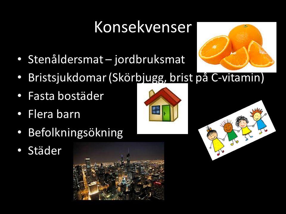 Konsekvenser Stenåldersmat – jordbruksmat Bristsjukdomar (Skörbjugg, brist på C-vitamin) Fasta bostäder Flera barn Befolkningsökning Städer