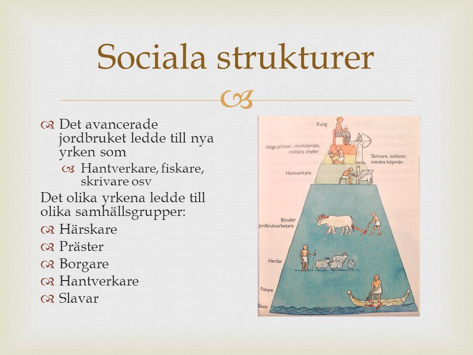  Sociala strukturer  Det avancerade jordbruket ledde till nya yrken som  Hantverkare, fiskare, skrivare osv Det olika yrkena ledde till olika samhä