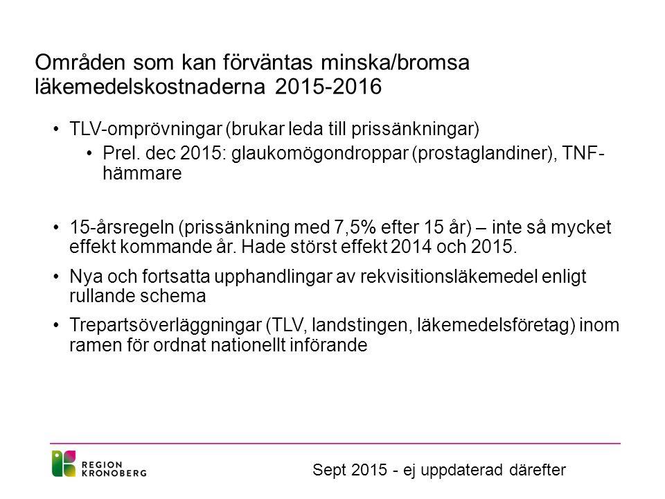 Områden som kan förväntas minska/bromsa läkemedelskostnaderna 2015-2016 TLV-omprövningar (brukar leda till prissänkningar) Prel. dec 2015: glaukomögon