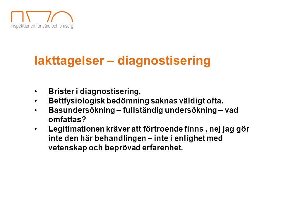 Iakttagelser – diagnostisering Brister i diagnostisering, Bettfysiologisk bedömning saknas väldigt ofta. Basundersökning – fullständig undersökning –