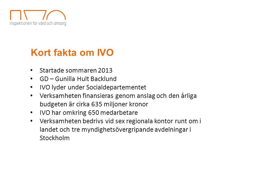 Kort fakta om IVO Startade sommaren 2013 GD – Gunilla Hult Backlund IVO lyder under Socialdepartementet Verksamheten finansieras genom anslag och den