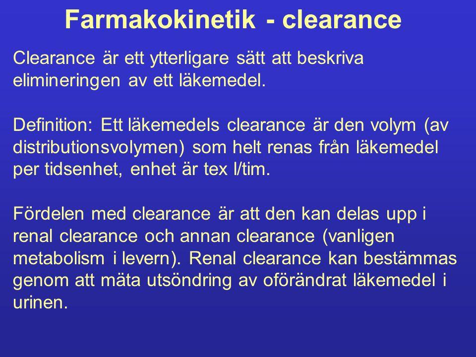 Farmakokinetik - clearance Clearance är ett ytterligare sätt att beskriva elimineringen av ett läkemedel.