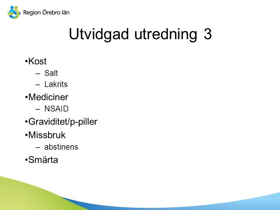 Sv Kost –Salt –Lakrits Mediciner –NSAID Graviditet/p-piller Missbruk –abstinens Smärta Utvidgad utredning 3