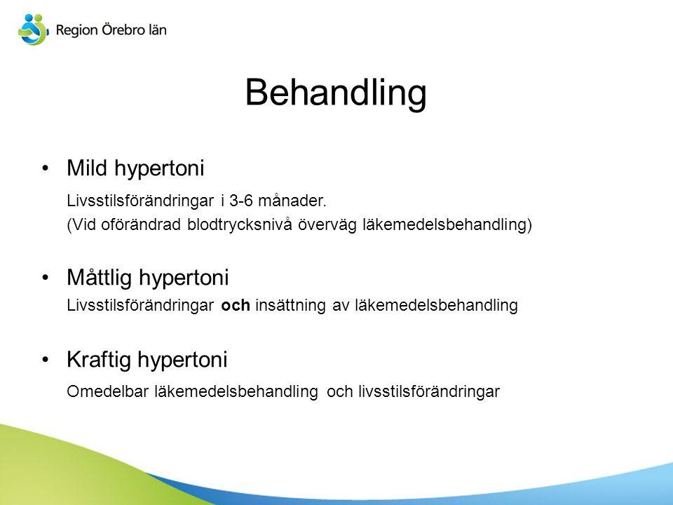 Sv Behandling Mild hypertoni Livsstilsförändringar i 3-6 månader.