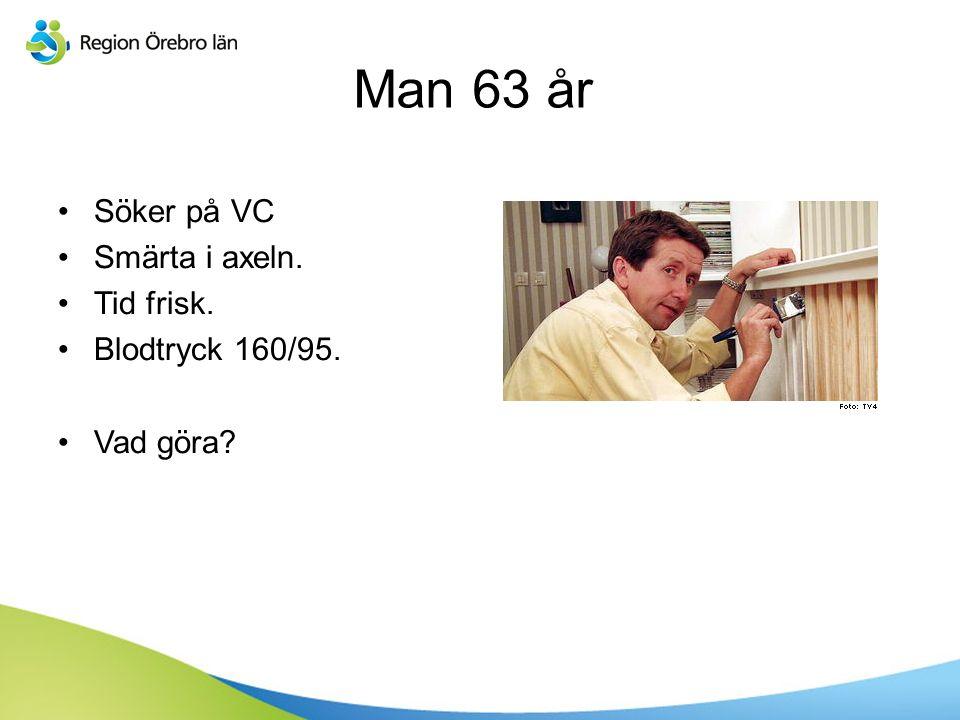 Sv Man 63 år Söker på VC Smärta i axeln. Tid frisk. Blodtryck 160/95. Vad göra?
