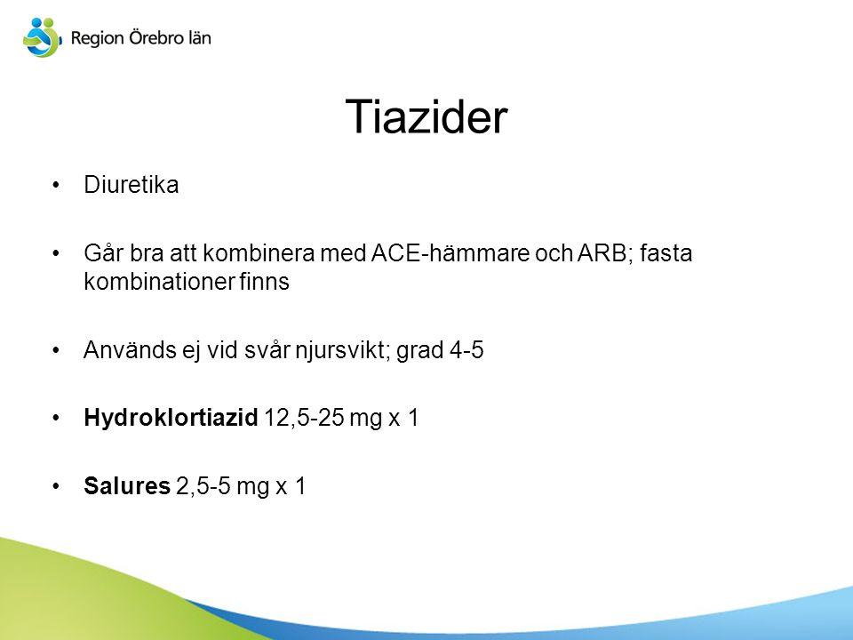 Sv Diuretika Går bra att kombinera med ACE-hämmare och ARB; fasta kombinationer finns Används ej vid svår njursvikt; grad 4-5 Hydroklortiazid 12,5-25 mg x 1 Salures 2,5-5 mg x 1 Tiazider