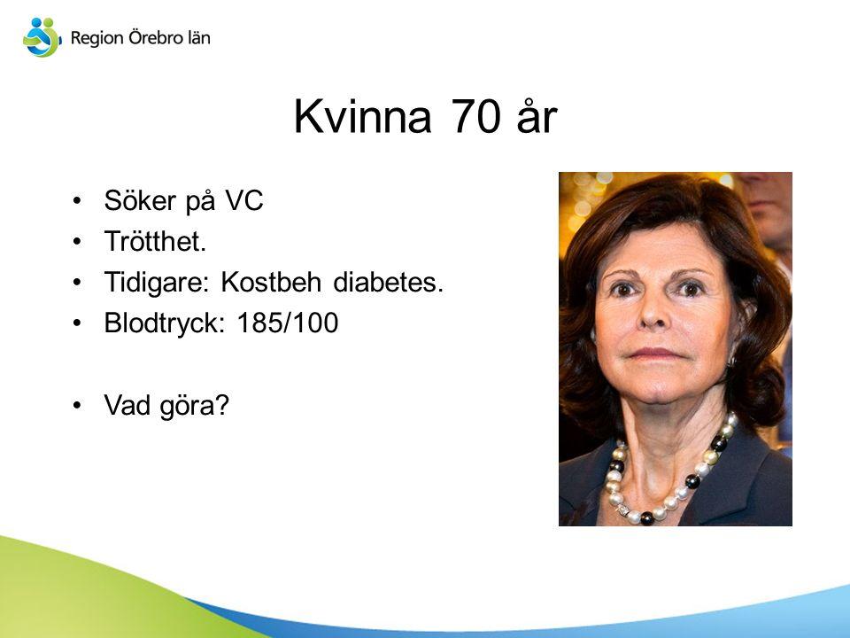 Sv Kvinna 70 år Söker på VC Trötthet. Tidigare: Kostbeh diabetes. Blodtryck: 185/100 Vad göra?
