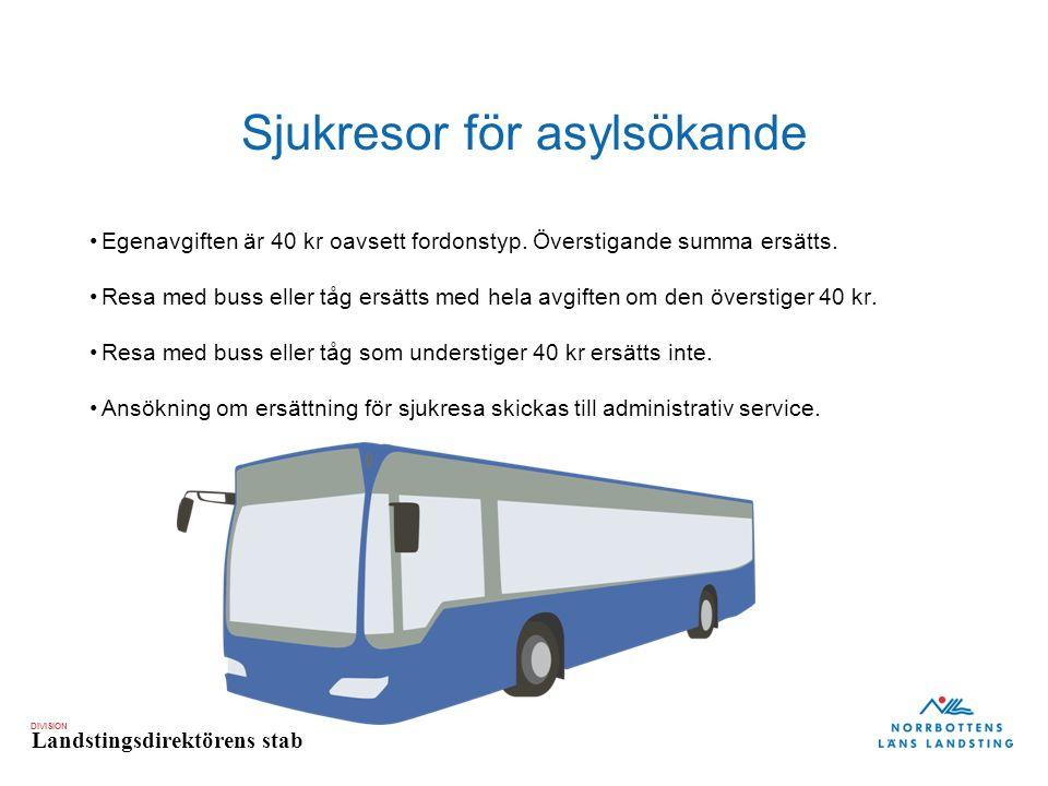 DIVISION Landstingsdirektörens stab Sjukresor för asylsökande Egenavgiften är 40 kr oavsett fordonstyp.