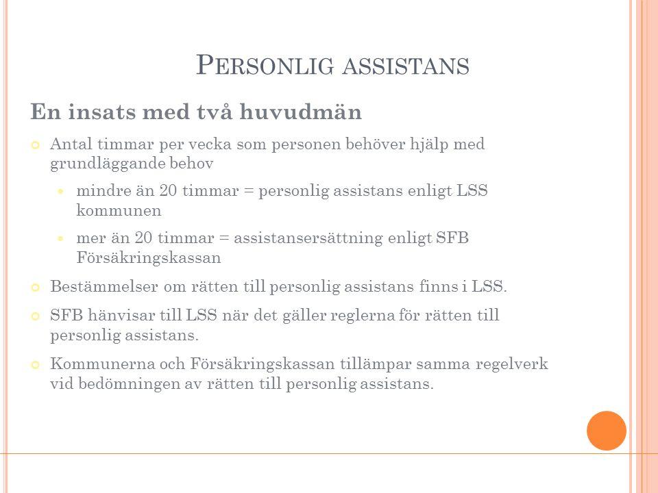 P ERSONLIG ASSISTANS En insats med två huvudmän Antal timmar per vecka som personen behöver hjälp med grundläggande behov mindre än 20 timmar = person