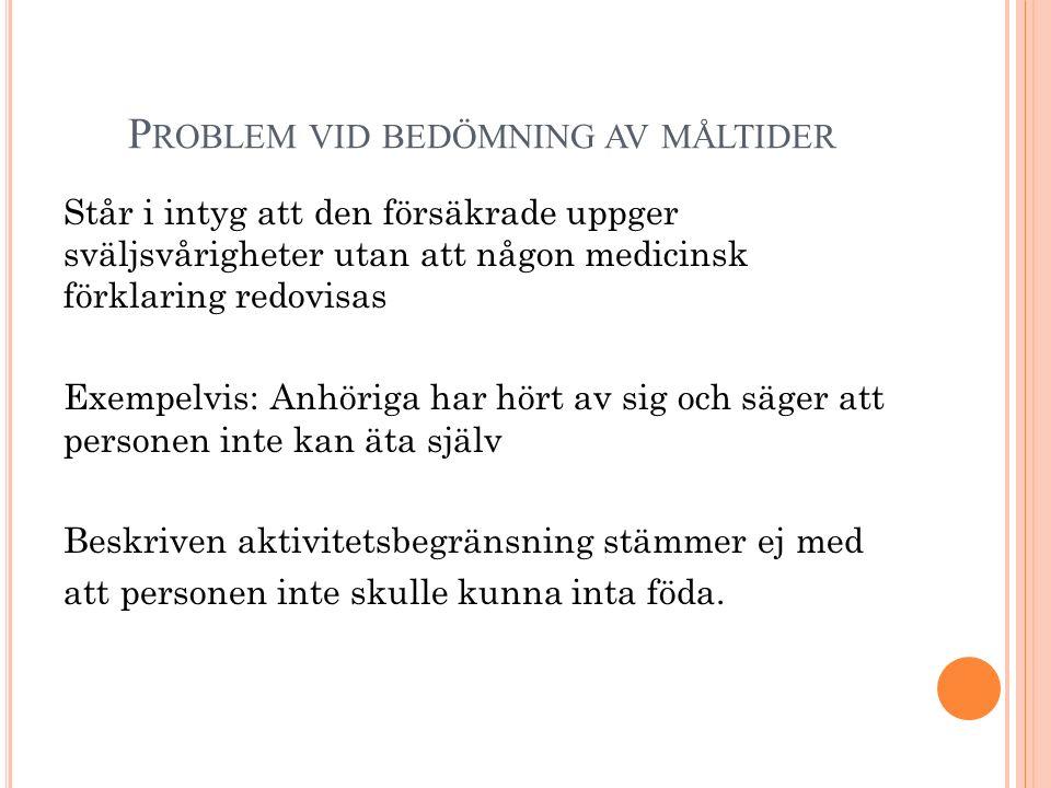 P ROBLEM VID BEDÖMNING AV MÅLTIDER Står i intyg att den försäkrade uppger sväljsvårigheter utan att någon medicinsk förklaring redovisas Exempelvis: A