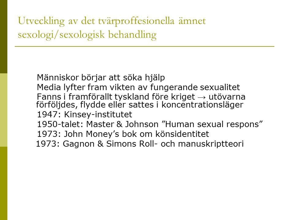 Utveckling av det tvärproffesionella ämnet sexologi/sexologisk behandling Människor börjar att söka hjälp Media lyfter fram vikten av fungerande sexualitet Fanns i framförallt tyskland före kriget → utövarna förföljdes, flydde eller sattes i koncentrationsläger 1947: Kinsey-institutet 1950-talet: Master & Johnson Human sexual respons 1973: John Money's bok om könsidentitet 1973: Gagnon & Simons Roll- och manuskriptteori