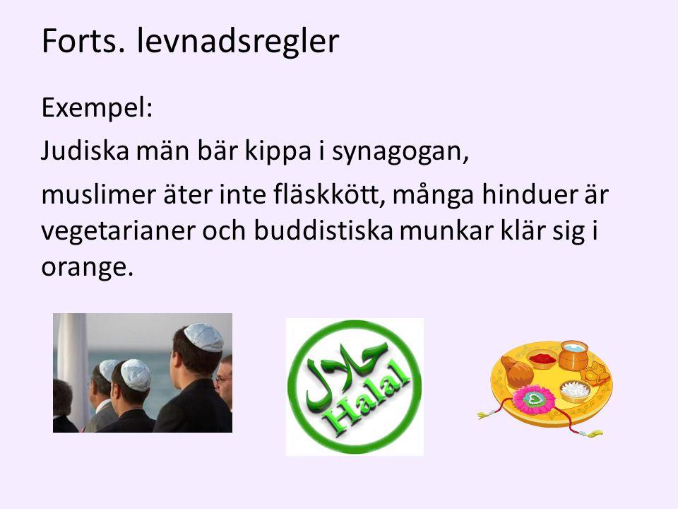 Forts. levnadsregler Exempel: Judiska män bär kippa i synagogan, muslimer äter inte fläskkött, många hinduer är vegetarianer och buddistiska munkar kl