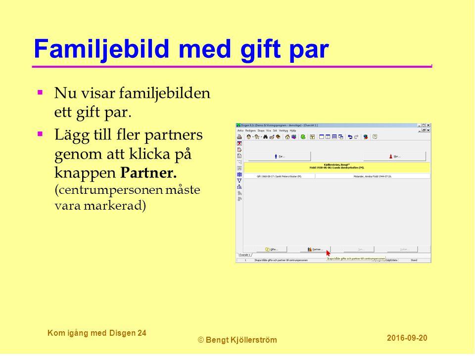 Familjebild med gift par  Nu visar familjebilden ett gift par.  Lägg till fler partners genom att klicka på knappen Partner. (centrumpersonen måste