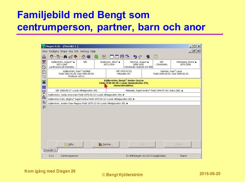 Familjebild med Bengt som centrumperson, partner, barn och anor Kom igång med Disgen 26 © Bengt Kjöllerström 2016-09-20