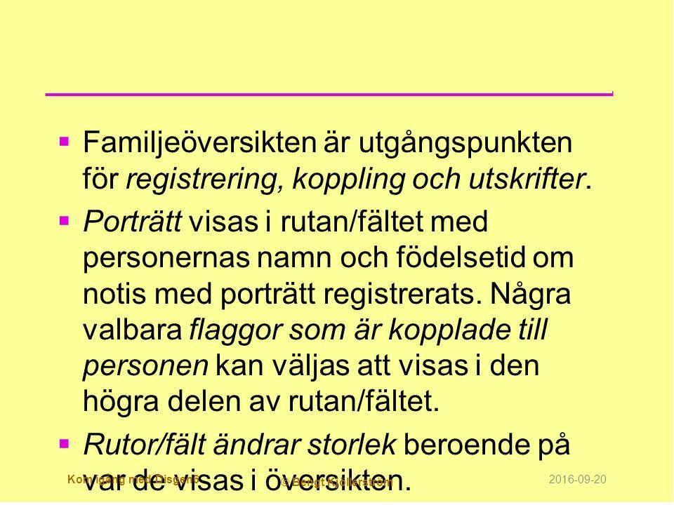  Familjeöversikten är utgångspunkten för registrering, koppling och utskrifter.  Porträtt visas i rutan/fältet med personernas namn och födelsetid o