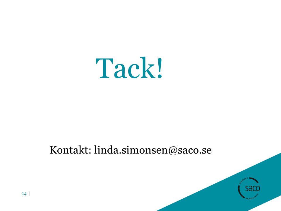 Tack! Kontakt: linda.simonsen@saco.se 14 |