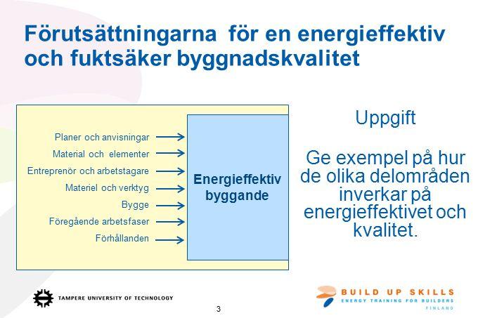 Förutsättningarna för en energieffektiv och fuktsäker byggnadskvalitet Uppgift Ge exempel på hur de olika delområden inverkar på energieffektivet och kvalitet.
