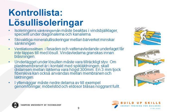 Kontrollista: Lösullisoleringar Isoleringens sänkningsmån måste beaktas i vindsbjälklager, speciellt under diagonalerna och kanalerna.