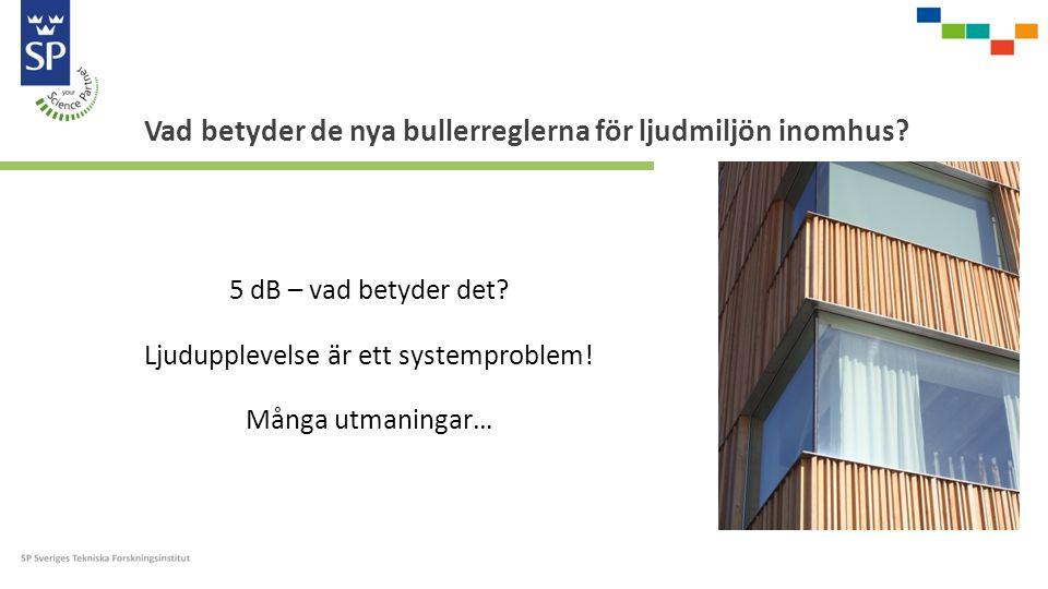 5 dB – vad betyder det? Ljudupplevelse är ett systemproblem! Många utmaningar… Vad betyder de nya bullerreglerna för ljudmiljön inomhus?