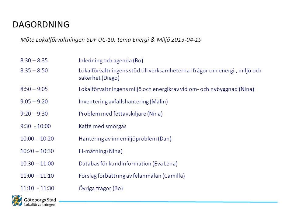 Möte Lokalförvaltningen SDF UC-10, tema Energi & Miljö 2013-04-19 8:30 – 8:35 Inledning och agenda (Bo) 8:35 – 8:50 Lokalförvaltningens stöd till verksamheterna i frågor om energi, miljö och säkerhet (Diego) 8:50 – 9:05 Lokalförvaltningens miljö och energikrav vid om- och nybyggnad (Nina) 9:05 – 9:20 Inventering avfallshantering (Malin) 9:20 – 9:30 Problem med fettavskiljare (Nina) 9:30 - 10:00 Kaffe med smörgås 10:00 – 10:20 Hantering av innemiljöproblem (Dan) 10:20 – 10:30 El-mätning (Nina) 10:30 – 11:00 Databas för kundinformation (Eva Lena) 11:00 – 11:10 Förslag förbättring av felanmälan (Camilla) 11:10 - 11:30 Övriga frågor (Bo) DAGORDNING