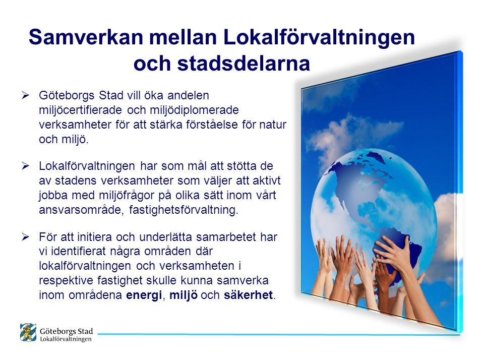 Samverkan mellan Lokalförvaltningen och stadsdelarna  Göteborgs Stad vill öka andelen miljöcertifierade och miljödiplomerade verksamheter för att stärka förståelse för natur och miljö.