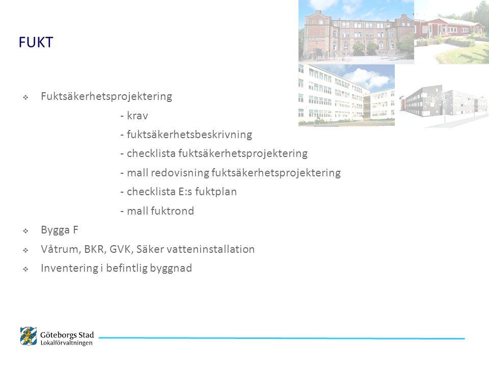  Fuktsäkerhetsprojektering - krav - fuktsäkerhetsbeskrivning - checklista fuktsäkerhetsprojektering - mall redovisning fuktsäkerhetsprojektering - checklista E:s fuktplan - mall fuktrond  Bygga F  Våtrum, BKR, GVK, Säker vatteninstallation  Inventering i befintlig byggnad FUKT