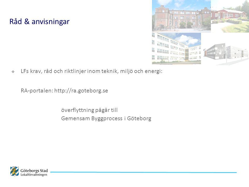 Råd & anvisningar  LFs krav, råd och riktlinjer inom teknik, miljö och energi: RA-portalen: http://ra.goteborg.se överflyttning pågår till Gemensam Byggprocess i Göteborg